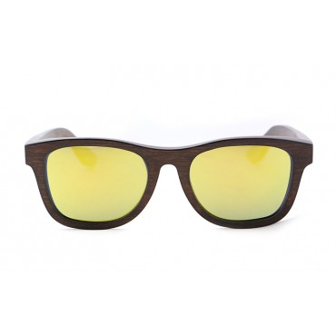 Monroe – Brown (Yellow Revo) Bamboo Sunglasses